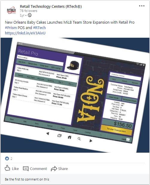Retail Technology Establishment shares Baby Cakes' experience with Retail Pro Prism